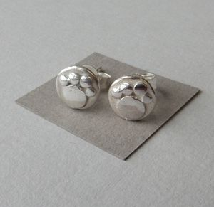 Mini Silver Paw Print Studs - children's jewellery