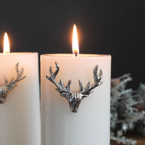Silver Stag Candle Pins Set Of Three