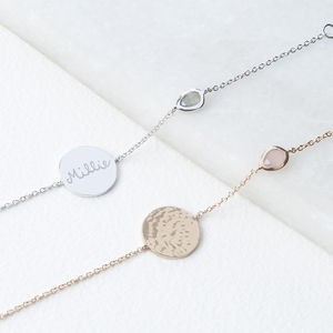 Personalised Hammered Disc And Gem Bracelet - top jewellery gifts