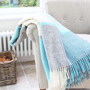 Penbryn Blue And Grey Check Wool Throw - blankets & throws