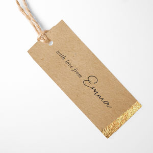 Pack Of 10 Personalised Gold Foil Gift Tags