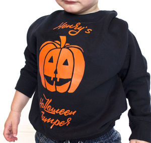 Personalised Halloween Jumper Pumpkin - fancy dress for babies & children