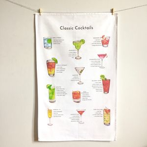 Classic Cocktails Tea Towel - new lines added