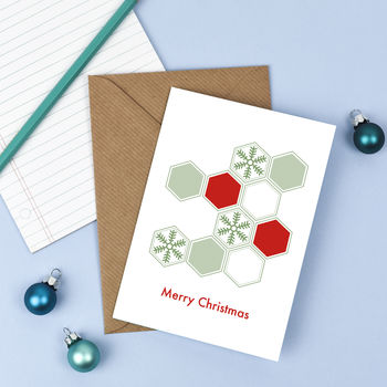 Minimal Graphical Snowflake Christmas Card