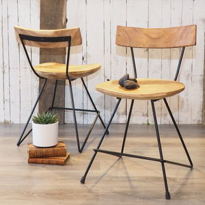 Industrial Wood Bistro Chair - furniture