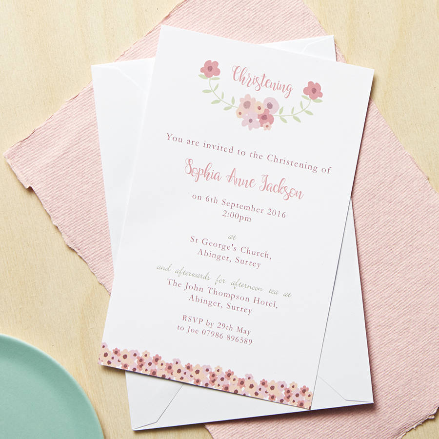 personalised floral christening or baptism invitations by molly moo
