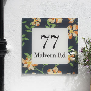 Personalised House Number Sign, Floral Bloom