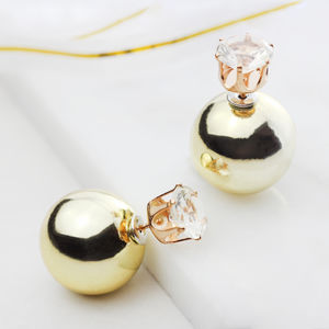 Crystal Double Sided Pearl Earrings - fashion jewellery