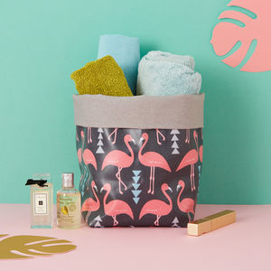 A Flamingo Flourish Storage Bucket