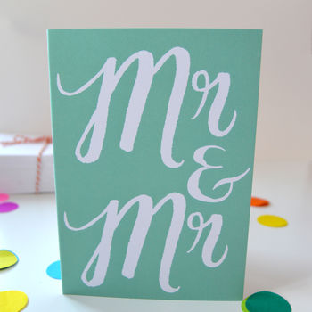 Mr And Mr Congratulations Card For Gay Weddings