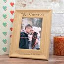 Personalised 'Mr And Mrs' Wedding Photo Frame In Oak