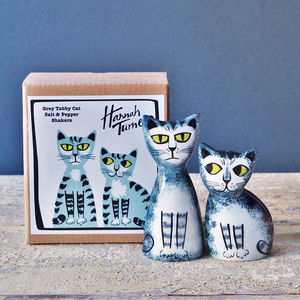 Grey Tabby Cat Salt And Pepper Shakers