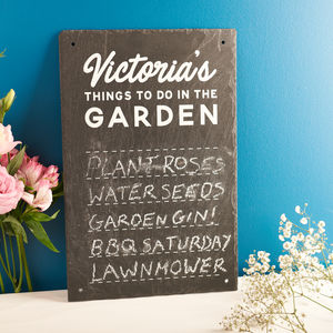 Personalised 'Things To Do In The Garden' Slate Sign - gifts for her sale