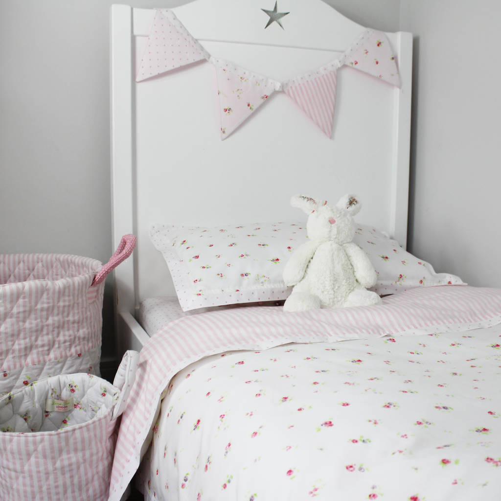 Floral Cot Bed Duvet Cover And Pillow Case By Lime Tree