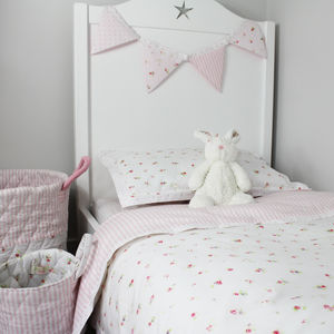 Floral Cot Bed Duvet Cover And Pillow Case