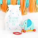 Wooden Pull Along Elephant And Personalised Bag