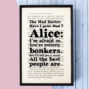 Alice In Wonderland Mad Hatter 'Bonkers' Book Print - shop by category