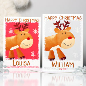 Personalised Reindeer Christmas Card - cards