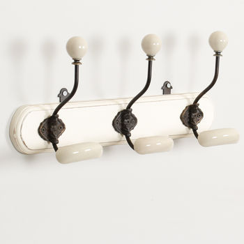 Contemporary Ceramic Tipped Hooks With Wooden Board