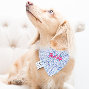 Personalised Blue Liberty Print Dog Neckerchief