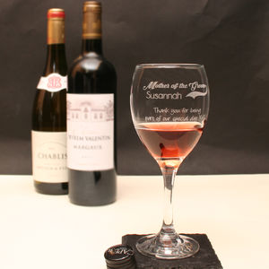 Personalised Mother Of The Groom Wine Glass In Gift Box