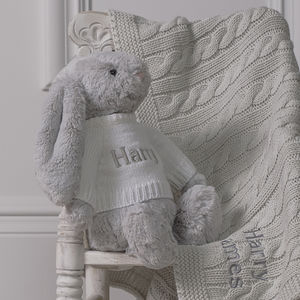 Personalised Baby Blanket And Bashful Bunny Toy