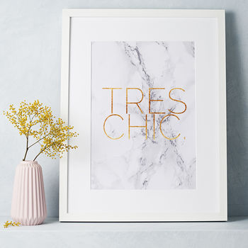 Marble And Gold 'Tres Chic' Print