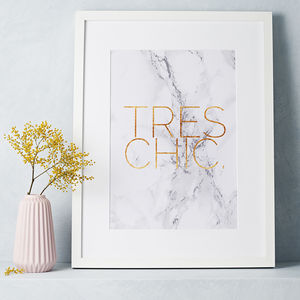 Marble And Gold 'Tres Chic' Print - best gifts for her
