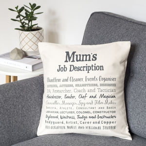 Mum Cushion Cover With Job Description Poem - patterned cushions