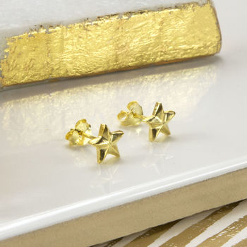 Gold Plated Sterling Silver Star Stud Earrings
