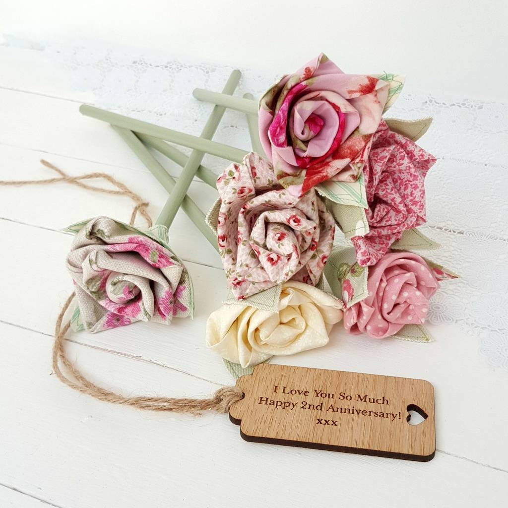 Handmade Wedding Flowers: Handmade Cotton Anniversary Flowers Engraved Tag Option By