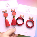 Red Glitter Hoop And Bow Fashion Earrings