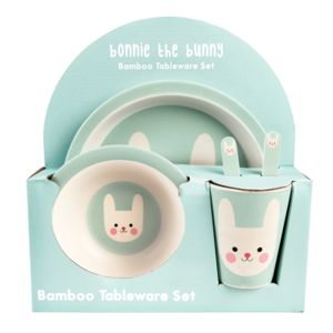 Bonnie The Bunny Bamboo Tableware Set Of Five - new in baby & child