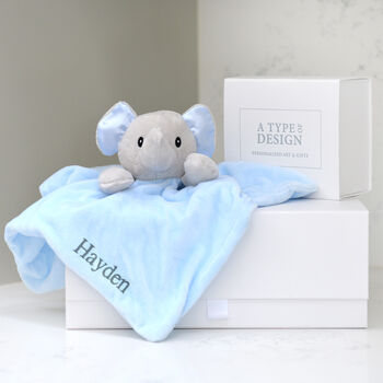 Personalised Blue And Grey Elephant Baby Comforter