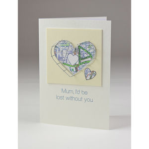 Mum, Lost Without You Personalised Card - mother's day cards