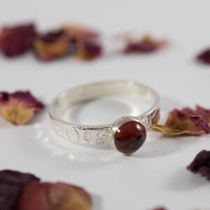 Garnet Ring In Recycled Silver