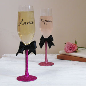Glitter Bow Personalised Champagne Glass