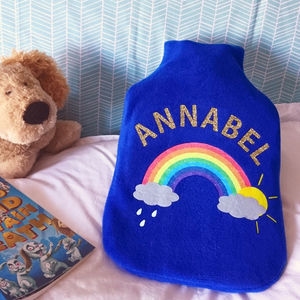 Rainbow Personalised Hot Water Bottle Cover
