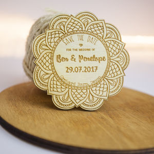 Personalised Wooden Mandala Save The Date - weddings sale