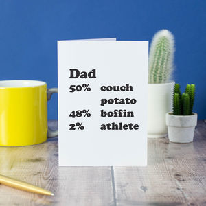 Personalised Percentage Card For Dads