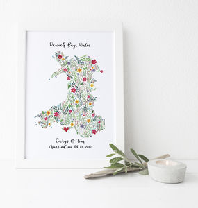 Personalised Floral Map Of Wales Print - paintings