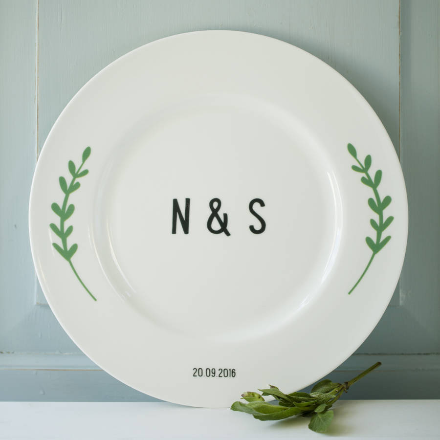 Laurel Branch Wedding Or Anniversary Plate