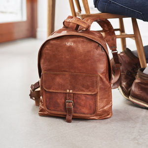 Zip Round Leather Backpack - gifts for him