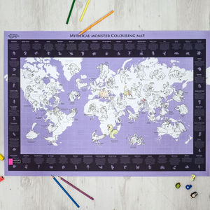 Mythical Monster Colouring In Map - pictures & prints for children