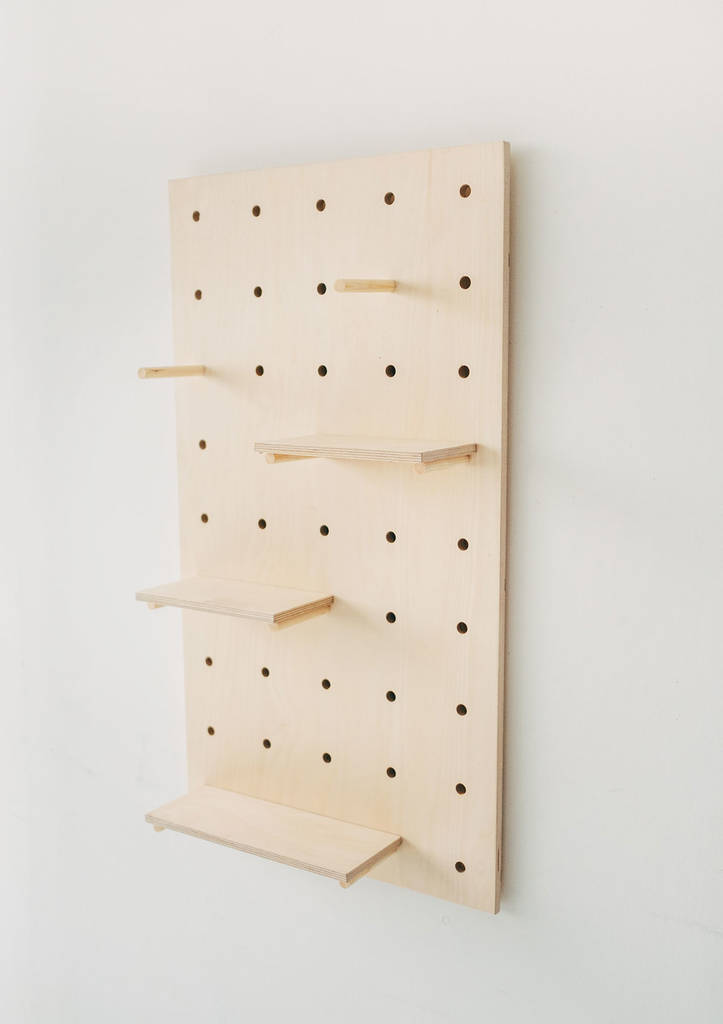 Display Birch Plywood Pegboard Shelving Display Unit By