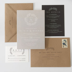 Laurel Wedding Invitations - grecian wedding styling