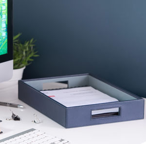 Leather Desk Tray Ink Blue