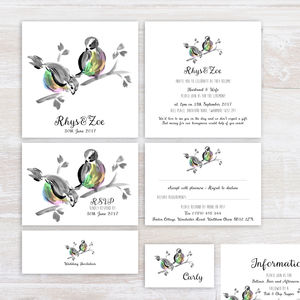 Love Birds Wedding Stationery In Pastel Rainbow Tones - wedding stationery