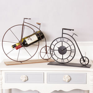 Penny Farthing Gift For Cyclists Clock And Wine Rack - kitchen