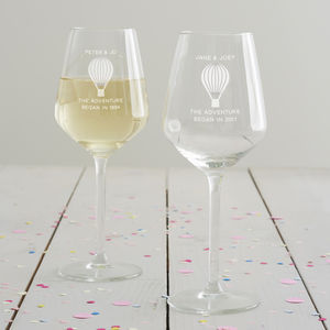 Personalised 'Adventure' Anniversary Wine Glass Set - tableware